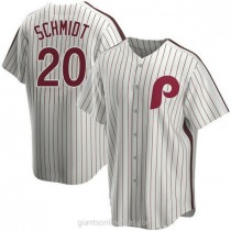 Mens Mike Schmidt Philadelphia Phillies #20 Replica White Home Cooperstown Collection A592 Jerseys