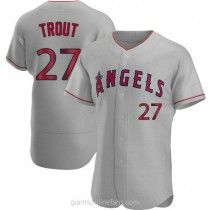 Mens Mike Trout Los Angeles Angels Of Anaheim #27 Authentic Gray Road A592 Jerseys