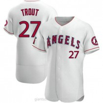 Mens Mike Trout Los Angeles Angels Of Anaheim #27 Authentic White A592 Jerseys