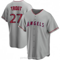 Mens Mike Trout Los Angeles Angels Of Anaheim #27 Replica Silver Road A592 Jersey