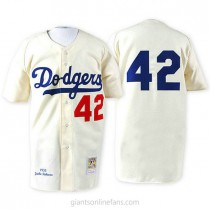 Mens Mitchell And Ness 1955 Jackie Robinson Los Angeles Dodgers #42 Authentic White Throwback Mlb A592 Jerseys