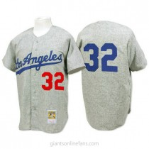 Mens Mitchell And Ness 1963 Sandy Koufax Los Angeles Dodgers #32 Authentic Gray Throwback Mlb A592 Jerseys