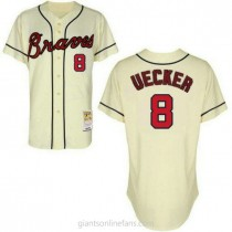 Mens Mitchell And Ness Atlanta Braves #8 Replica Cream Throwback A592 Jersey