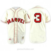 Mens Mitchell And Ness Babe Ruth Atlanta Braves #3 Replica Cream Throwback A592 Jersey