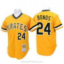 Mens Mitchell And Ness Barry Bonds Pittsburgh Pirates #24 Authentic Gold Throwback A592 Jersey