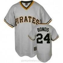 Mens Mitchell And Ness Barry Bonds Pittsburgh Pirates #24 Authentic Grey Throwback A592 Jersey