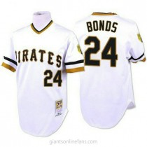 Mens Mitchell And Ness Barry Bonds Pittsburgh Pirates #24 Replica White Throwback A592 Jersey