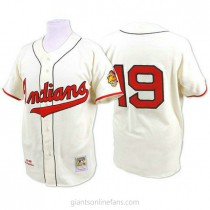 Mens Mitchell And Ness Bob Feller Cleveland Indians #19 Authentic Cream 1948 Throwback A592 Jersey