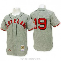 Mens Mitchell And Ness Bob Feller Cleveland Indians #19 Authentic Grey Throwback A592 Jersey