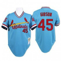 Mens Mitchell And Ness Bob Gibson St Louis Cardinals #45 Blue Throwback A592 Jersey Authentic