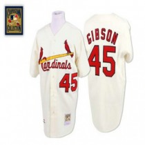 Mens Mitchell And Ness Bob Gibson St Louis Cardinals #45 Cream Throwback A592 Jersey Replica
