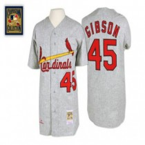 Mens Mitchell And Ness Bob Gibson St Louis Cardinals #45 Grey 1967 Throwback A592 Jersey Authentic