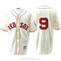 Mens Mitchell And Ness Boston Red Sox #9 Authentic Cream Throwback A592 Jersey