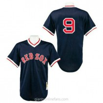 Mens Mitchell And Ness Boston Red Sox #9 Authentic Navy Blue 1990 Throwback A592 Jersey