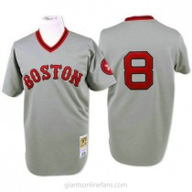 Mens Mitchell And Ness Carl Yastrzemski Boston Red Sox #8 Authentic Grey Throwback A592 Jersey