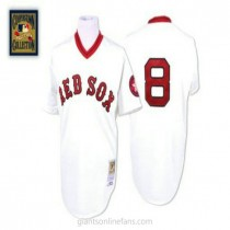 Mens Mitchell And Ness Carl Yastrzemski Boston Red Sox #8 Authentic White Throwback A592 Jerseys
