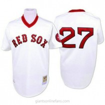 Mens Mitchell And Ness Carlton Fisk Boston Red Sox #27 Authentic White Throwback A592 Jersey