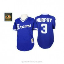 Mens Mitchell And Ness Dale Murphy Atlanta Braves #3 Authentic Blue Throwback A592 Jerseys