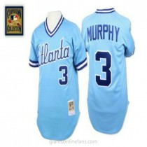 Mens Mitchell And Ness Dale Murphy Atlanta Braves #3 Authentic Light Blue 1982 Throwback A592 Jersey