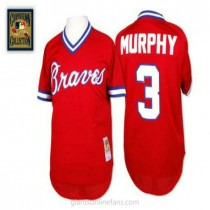 Mens Mitchell And Ness Dale Murphy Atlanta Braves #3 Replica Red 1980 Throwback A592 Jerseys