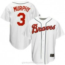 Mens Mitchell And Ness Dale Murphy Atlanta Braves #3 Replica White Throwback A592 Jersey
