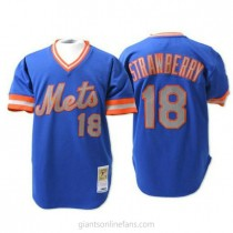 Mens Mitchell And Ness Darryl Strawberry New York Mets #18 Authentic Blue Throwback A592 Jersey