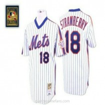 Mens Mitchell And Ness Darryl Strawberry New York Mets #18 Authentic Blue White Strip Throwback A592 Jerseys