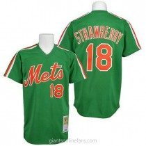 Mens Mitchell And Ness Darryl Strawberry New York Mets #18 Authentic Green Throwback A592 Jerseys