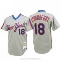 Mens Mitchell And Ness Darryl Strawberry New York Mets #18 Authentic Grey Throwback A592 Jerseys