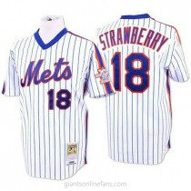 Mens Mitchell And Ness Darryl Strawberry New York Mets #18 Replica Blue White Strip Throwback A592 Jersey