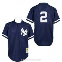 Mens Mitchell And Ness Derek Jeter New York Yankees #2 Authentic Navy Blue Practice Throwback A592 Jerseys