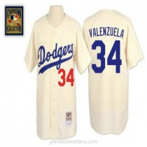 Mens Mitchell And Ness Fernando Valenzuela Los Angeles Dodgers #34 Authentic Cream Throwback A592 Jersey