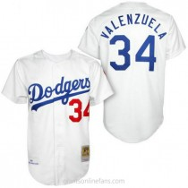Mens Mitchell And Ness Fernando Valenzuela Los Angeles Dodgers #34 Authentic White 1955 Throwback A592 Jersey