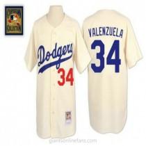 Mens Mitchell And Ness Fernando Valenzuela Los Angeles Dodgers #34 Replica Cream Throwback A592 Jerseys