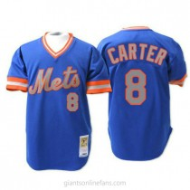 Mens Mitchell And Ness Gary Carter New York Mets #8 Authentic Blue 1983 Throwback A592 Jerseys