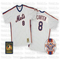 Mens Mitchell And Ness Gary Carter New York Mets #8 Authentic Blue White Strip Throwback A592 Jersey