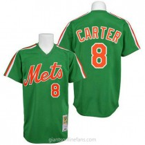 Mens Mitchell And Ness Gary Carter New York Mets #8 Authentic Green 1985 Throwback A592 Jersey