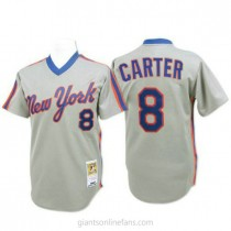 Mens Mitchell And Ness Gary Carter New York Mets #8 Authentic Grey Throwback A592 Jerseys