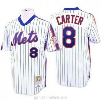 Mens Mitchell And Ness Gary Carter New York Mets #8 Replica Blue White Strip Throwback A592 Jersey