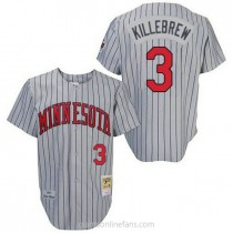 Mens Mitchell And Ness Harmon Killebrew Minnesota Twins #3 Authentic Grey 1987 Throwback A592 Jersey