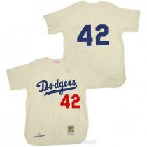 Mens Mitchell And Ness Jackie Robinson Los Angeles Dodgers #42 Authentic Cream Throwback Mlb A592 Jerseys