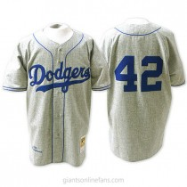 Mens Mitchell And Ness Jackie Robinson Los Angeles Dodgers #42 Authentic Gray Throwback Mlb A592 Jerseys