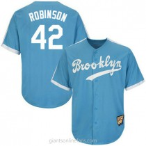 Mens Mitchell And Ness Jackie Robinson Los Angeles Dodgers #42 Authentic Light Blue Throwback Mlb A592 Jersey