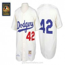 Mens Mitchell And Ness Jackie Robinson Los Angeles Dodgers #42 Authentic White Throwback Mlb A592 Jerseys