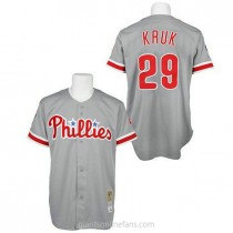 Mens Mitchell And Ness John Kruk Philadelphia Phillies #29 Authentic Grey Throwback A592 Jerseys