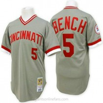 Mens Mitchell And Ness Johnny Bench Cincinnati Reds #5 Authentic Grey Throwback A592 Jersey