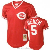 Mens Mitchell And Ness Johnny Bench Cincinnati Reds Replica Red Throwback A592 Jersey