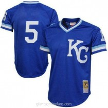 Mens Mitchell And Ness Kansas City Royals #5 Authentic Royal Blue 1989 Throwback A592 Jersey