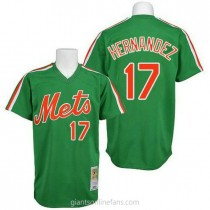 Mens Mitchell And Ness Keith Hernandez New York Mets #17 Authentic Green Throwback A592 Jerseys