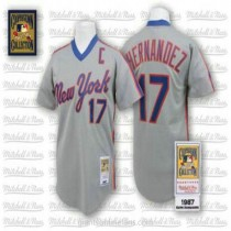 Mens Mitchell And Ness Keith Hernandez New York Mets #17 Authentic Grey Throwback A592 Jerseys